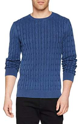 Gant Men's Sunbleached Cable Crew Sweater Jumper, (Persian Blue)