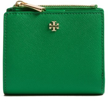 Women's Tory Burch 'Mini Robinson' Leather Wallet - Green