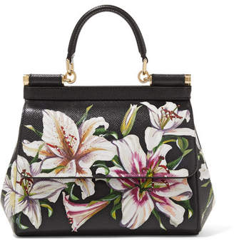 349590ff3c9 Dolce & Gabbana Sicily Floral-print Textured-leather Tote - Black