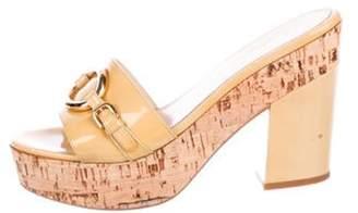 Prada Patent Leather Platform Sandals gold Patent Leather Platform Sandals