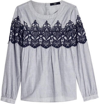 Steffen Schraut Striped Cotton Blouse with Embroidery