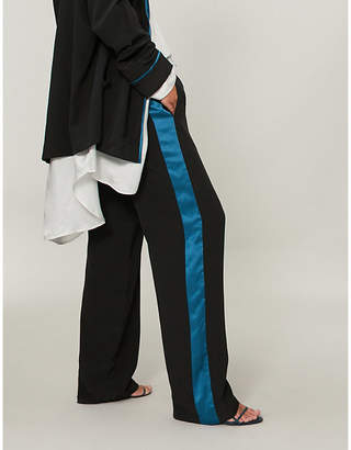 Haider Ackermann Side-stripe wide-leg silk-satin trousers