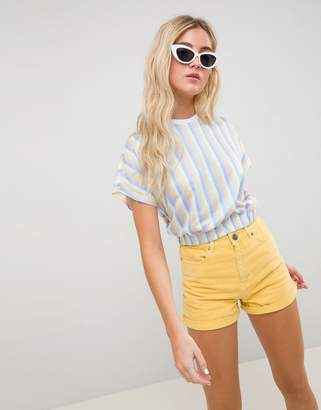 Asos Design DESIGN t-shirt in bright stripe with elasticated hem