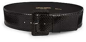 Carolina Herrera Women's Wide Snakeskin Leather Belt