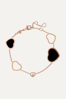 Chopard Happy Hearts 18-karat Rose Gold, Diamond And Onyx Bracelet