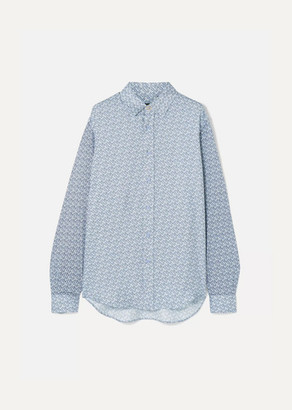 Burberry Printed Mulberry Silk-twill Shirt - Blue
