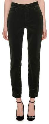 Dolce & Gabbana High-Waist Five-Pocket Straight-Leg Velvet Pants