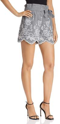Aqua Embroidered Gingham Paper-Bag Shorts - 100% Exclusive