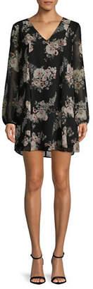 BCBGeneration Floral Long-Sleeve Shift Dress