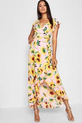 boohoo Sunflower Print Wrap Front Maxi Dress