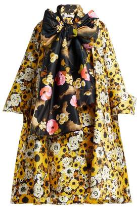 Richard Quinn - Floral Print Tie Neck Coat - Womens - Yellow Multi