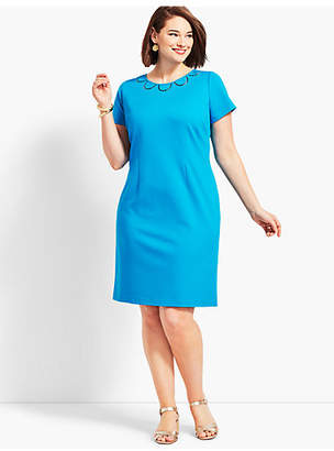 Talbots Embroidered Ponte Sheath Dress
