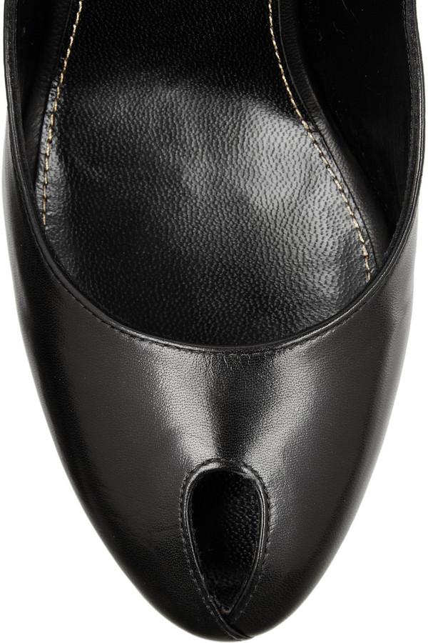 Sergio Rossi Cutout platform leather slingbacks