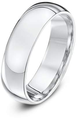 Theia Palladium 950 Super Heavy - Court shape 6mm Wedding Ring - Size O