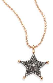 Kismet by Milka Sherriff Star Champagne Diamond& 14K Rose Gold Pendant Necklace