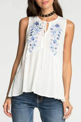 3a5dbfa85e5f8d Miss Me Embroidered White Babydoll Tank