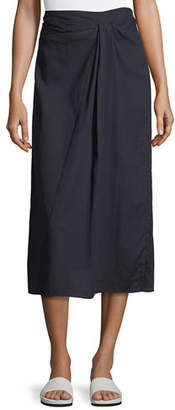 Vince Twist-Front A-Line Midi Cotton Skirt