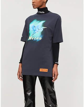 HERON PRESTON Airbrush heron-print cotton-jersey T-shirt