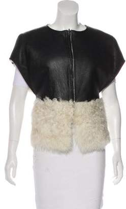 Nellie Partow Leather-Trimmed Shearling Vest