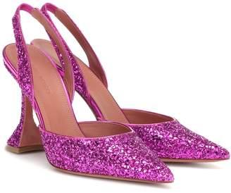 Amina Muaddi Holli 95 glitter slingback pumps