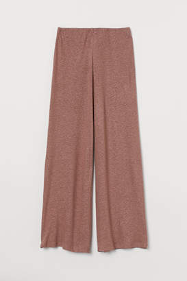 H&M Wide-leg Linen-blend Pants - Orange