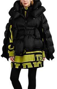 BESFXXK Women's Zip-Sleeve Belted Puffer Jacket - Black