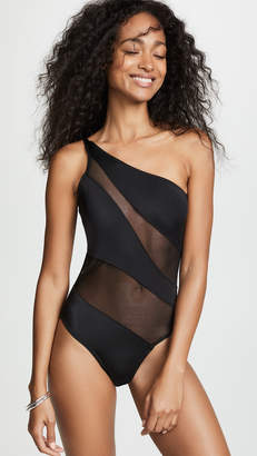 19a292db5c5f6 Black One Piece With Mesh Swimsuit - ShopStyle
