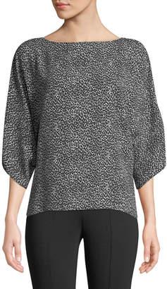 Michael Kors Leopard-Print Silk Boat-Neck Top, Black/White