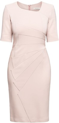 Rumour London Amelie Powder Pink Fitted Knee Length Dress With Asymmetrical Neckline