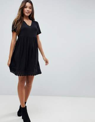 Asos V Neck Smock mini dress With Lace Hem