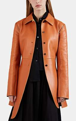 Loewe Women's Side-Slit Leather Structured Jacket - Beige, Tan