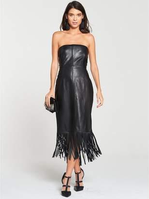 Very Leather Bardot Midi Dress - Black