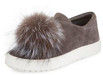 Delman Marli Fox-Pompom Suede Sneaker, Smoke $248 thestylecure.com