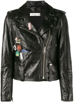 Golden Goose badge emblazoned leather jacket