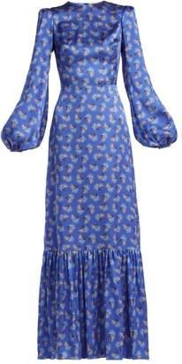 The Vampire's Wife - Belle No.1 Firework Print Silk Satin Dress - Womens - Blue Print