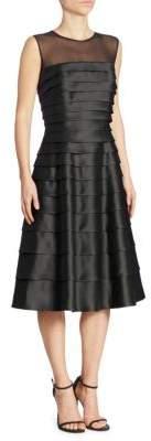 Carmen Marc Valvo Tiered Illusion Dress