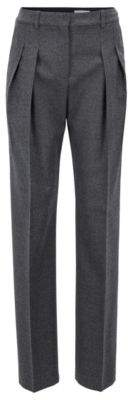 BOSS Hugo Extra-long wide-leg pants pleated front 8 Charcoal