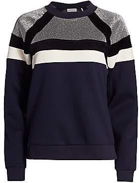 Sandro Women's Colorblock Metallic Fleece Sweater