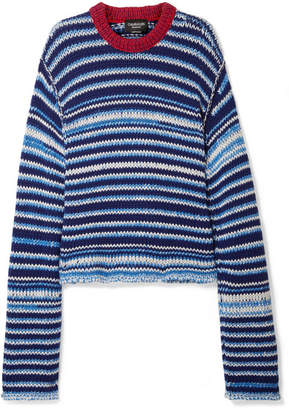 Calvin Klein Oversized Striped Wool Sweater - Navy