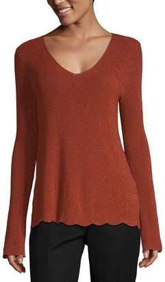 Liz Claiborne Womens V Neck Long Sleeve Pullover Sweater