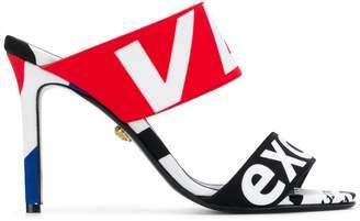Versace lettering logo print sandals