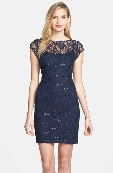 Adrianna Papell Embellished Lace Sheath Dress (Online Only)