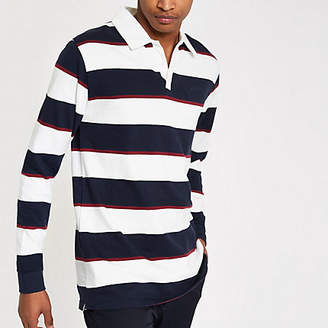 Bellfield navy and white stripe rugby shirt
