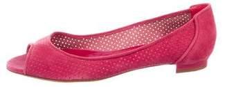 Manolo Blahnik Perforated Peep-Toe Flats