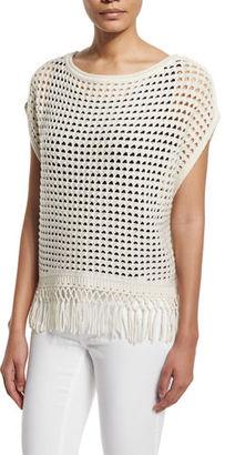 Elie Tahari Pandora Crochet Sweater with Fringe Hem $348 thestylecure.com