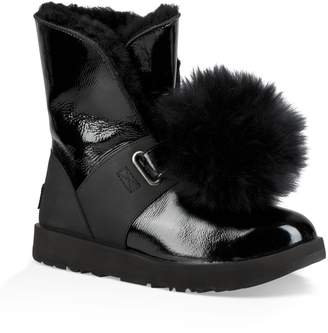 UGG Isley Genuine Shearling Waterproof Patent Pom Bootie