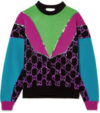Gucci Sequin-embellished Wool Sweater - Black