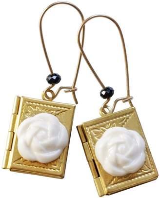 POPORCELAIN - Porcelain Camellia Yellow Brass Book Locket Earrings