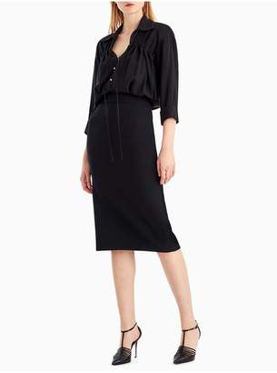 Jason Wu Compact Crepe Collared Short Sleeve Dress