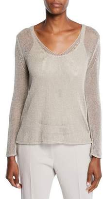 Max Mara Fiumana Shimmered Mesh-Knit Sweater